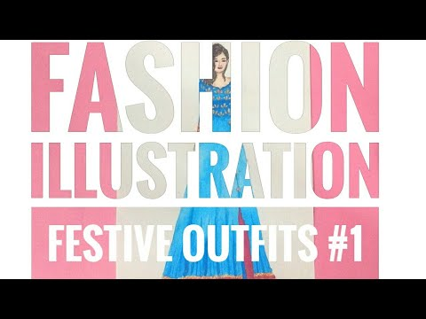 Fashion Illustration | Festive Outfits #1 | How To Paint Fashion Designs