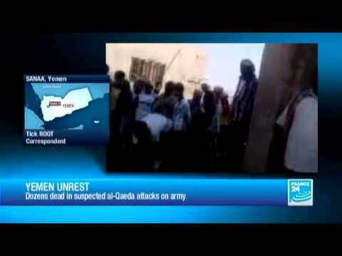 Yemen: dozens dead in suspected al-Qaeda attacks on army
