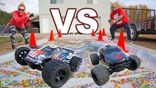 RC CARS vs ORBEEZ SLIME!!