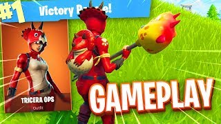"NEW Fortnite ""TRICERA OPS"" Skin Gameplay.."
