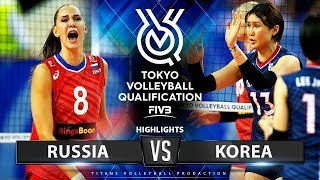 RUSSIA vs KOREA - HIGHLIGHTS | Women's Volleyball Olympic Qualifying Tournament 2019