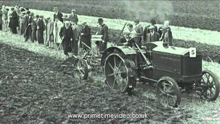 Tractor Trials archive video from the 1930s - old film of working machines