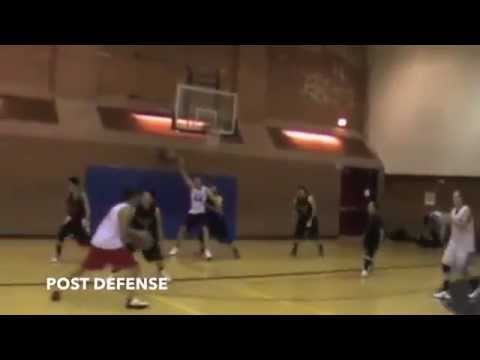 Post defense against taller man.