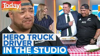 Hero truck driver can't believe viral fame | Today Show Australia