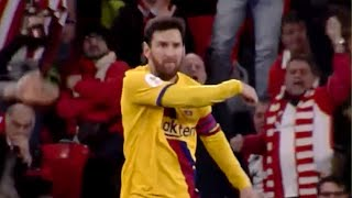 Lionel Messi gets angry at Ansu Fati during Athletic Bilbao vs Barcelona match