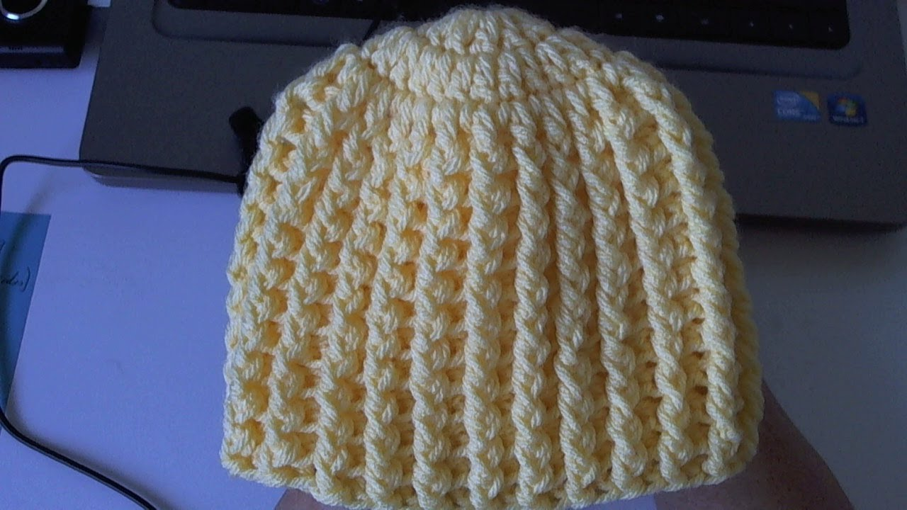 Learn to crochet Easy Ribbed Beanie/Cap Style 1 (Tambien ...