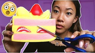 INSANE SQUISHY DARES!! I Cut My Jumbo Cake Squishy   !