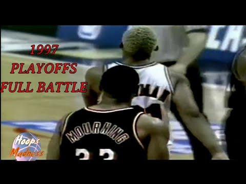 Dennis RODMAN vs Alonzo MOURNING!!! - 1997 NBA Playoffs