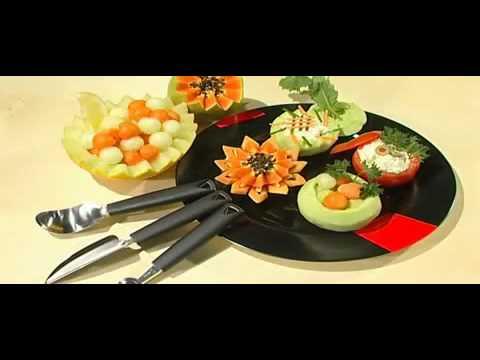 Nóż dekoracyjny V, wydrążacz do owoców i warzyw - TRIANGLE