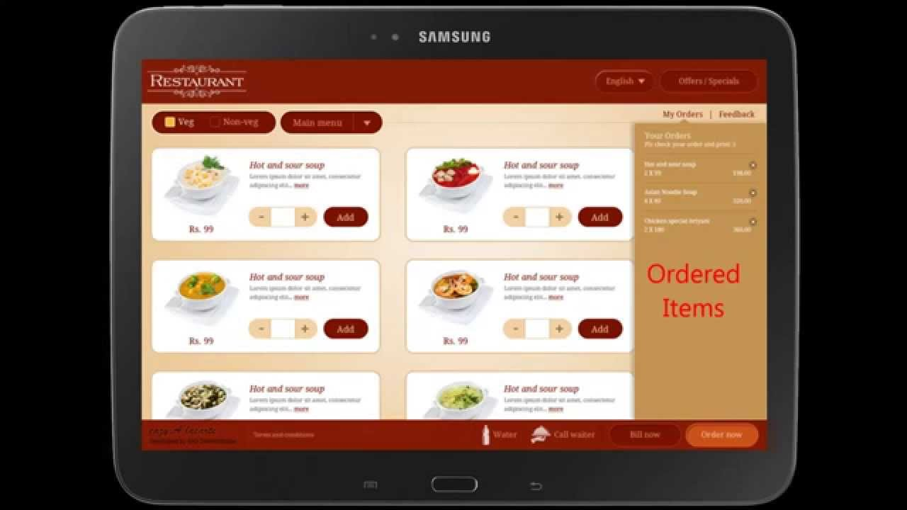 A La Carte The Digital Menu Card Tablet Application