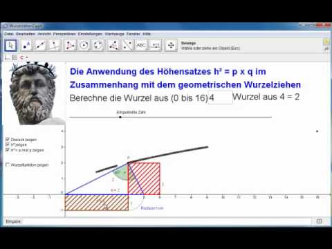 geogebra die wurzel und der h hensatz youtube. Black Bedroom Furniture Sets. Home Design Ideas