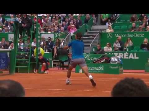 Rafael Nadal attempts to catch Gabashvili's Racquet