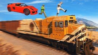 300MPH CARS vs. TRAIN RUNNERS! (GTA 5 Funny Moments)