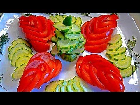 Карвинг из огурца и помидора. Цветы и лепестки. Как красиво оформить закуску