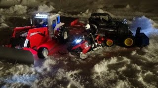 Rc snowmobile polaris rush brushless,rc tractor at work,rc snow blower at work.