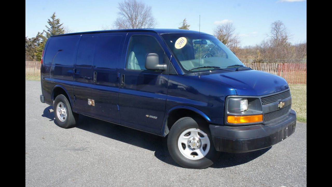 2003 chevrolet 2500 cargo van for sale clean truck ready to work salvage title youtube