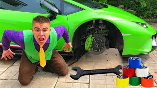 Lamborghini Huracan without Wheels VS Mr. Joe in Tire Service VS Red Man tied Wheel Car  for Kids