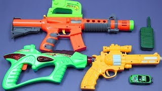 Toy Guns Toys for Kids Rhymes Songs!! Box Full of Toys with Many Colored Toys Equipment from the Box