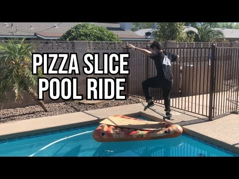 Skating Over A Pool On An Inflatable Pizza Slice