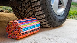 Crushing Crunchy & Soft Things by Car! EXPERIMENT CAR vs Wooden Crayons