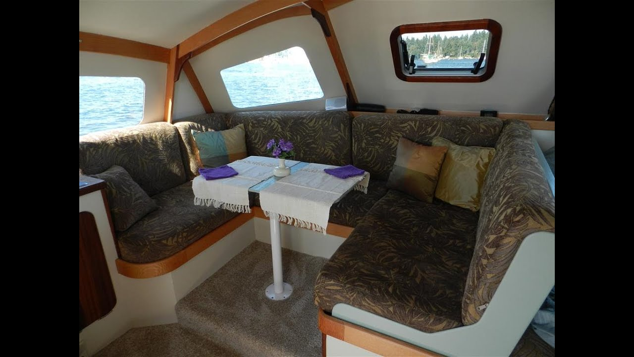Skoota28 power catamaran walkround interior and deck - YouTube