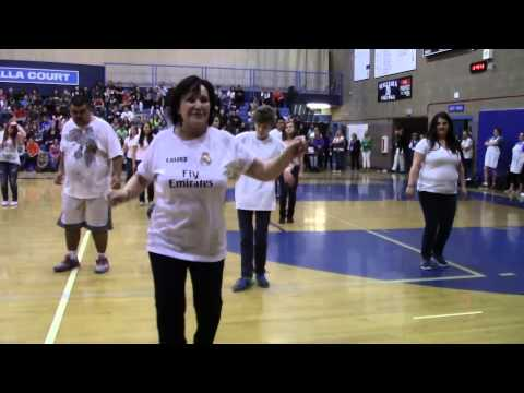 Mazama High School dance class performs a Line Dance Medley at Assembly 2014