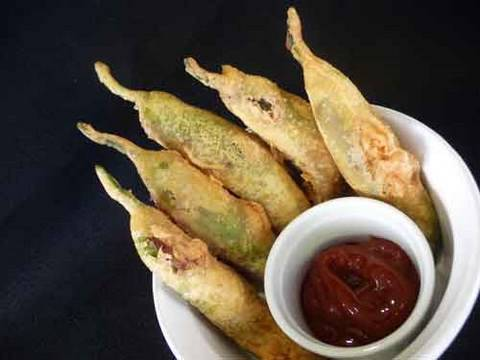 Mirchi Bhajji Indian Recipe - Stuffed Green Chili Fritters