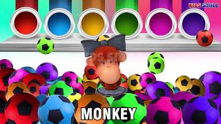 Ball Colors   Learn color with soccer ball with Bear, Monkey, Duck and Dinosaurs video for Toddlers