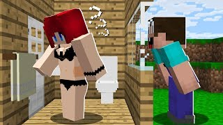 WHY DOES NOOB SPY on a PRO GIRL in MINECRAFT? Noob vs Pro