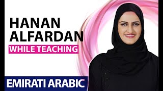 Hanan AlFardan while teaching Emirati dialect in AlRamsa
