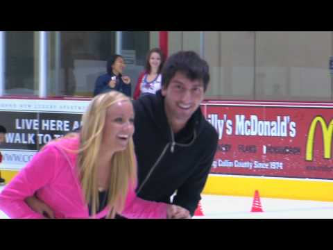 Nastia tries to ice skate for the first time with a very capable instructor.