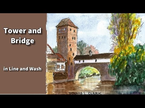 watercolor line and wash tutorial - how to draw and paint a tower and bridge