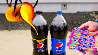 Experiments Coca Cola Zero and Persi vs Mentos vs Lava
