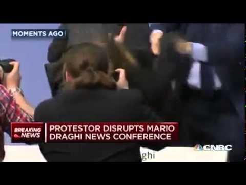 Protestor disrupts ECB press conference