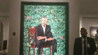 Portrait of Barack Obama and other presidents at the National Portrait Gallery in Washington DC