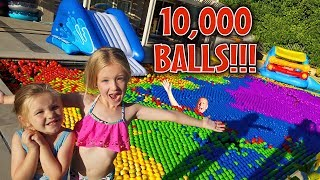 Filling Our Pool with 10,000 Ball Pit Balls! Epic Win!!!