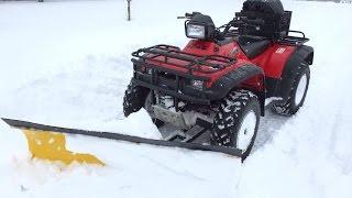 Honda Foreman 450 vs. 16 Inch Snow Storm, ATV Snow Plow