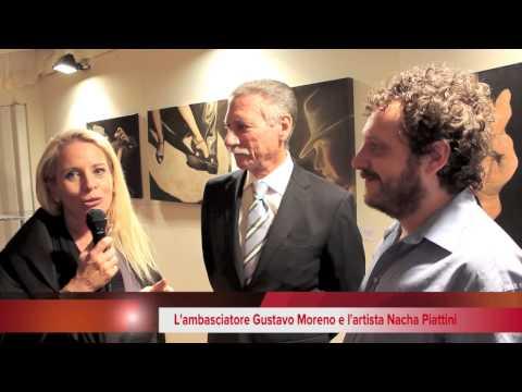 Nacha Piattini e L'ambasciatore Gustavo Moreno, Console generale dell'Argentina a Milano