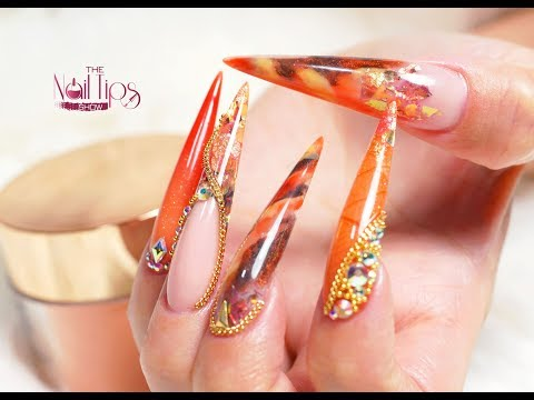 How To  Encapsulate Dried Leaves | Acrylic Nails | Fall Inspired Design