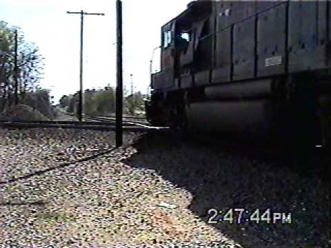 SB UPRR Local Train Crosses The BNSF Mainline @ Temple TX .avi
