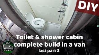RV Toilet and shower cabin complete build in van conversion. Accordion door, toilet, light, paneling