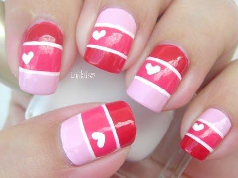 Nail Art - Valentine Color Blocking