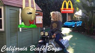 McDonald's Drive Thru Prank #2! Power Wheels Ride On Car Pretend Play