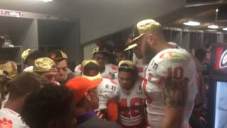 Loved this moment in the locker room when Clemson DC Brent Venabl...