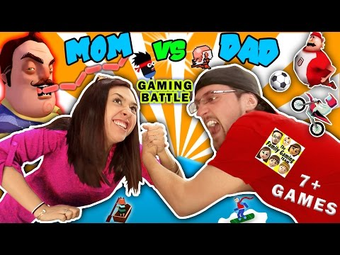 FGTEEV MOM vs DAD GAMING CHALLENGE!  Hello Neighbor Sausage Eater? 7+ iOS App Games Parents Battle