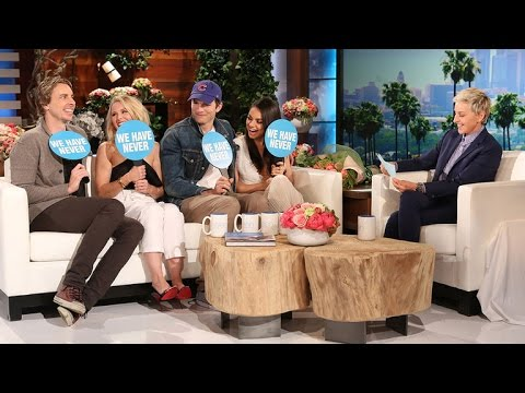 Ashton Kutcher and Dax Shepard Surprise Mila Kunis and Kristen Bell to Play 'Never Have We Ever'