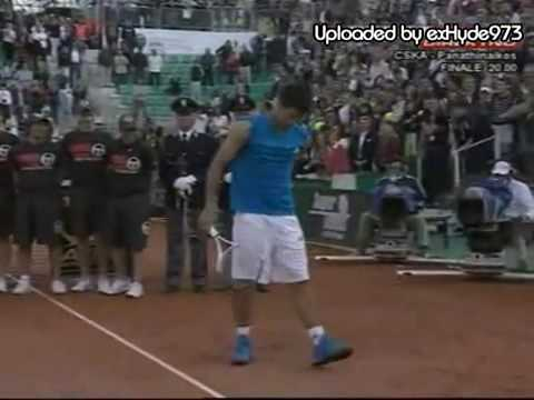 2009 Rome - Novak Djokovic imitating Rafael Nadal...FINAL...  03.05.2009.