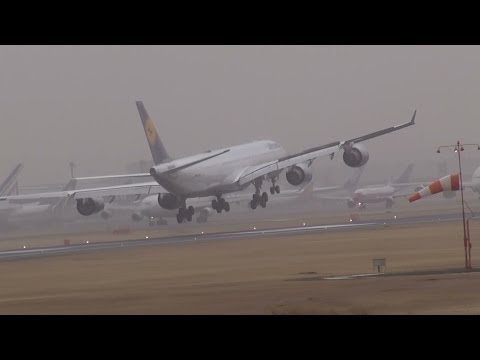 横風着陸!Strong Crosswind Hard landing at Narita Airport!!成田空港