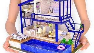 DIY-Miniatur - Modernes Party-Haus mit echtem Swimmingpool