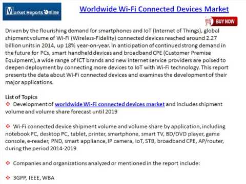 Worldwide Wi Fi Connected Devices Market